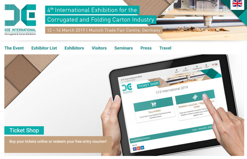 CCE International 2019  the International Exhibition for the Corrugated and Folding Carton Industry